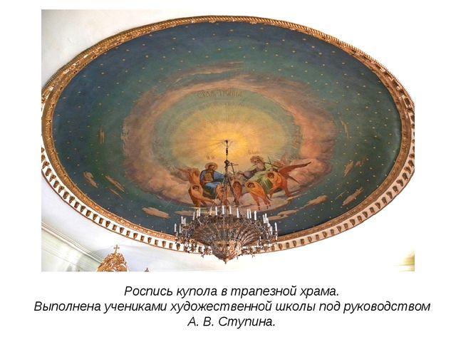 Роспись купола в трапезной храма. Выполнена учениками художественной школы по...