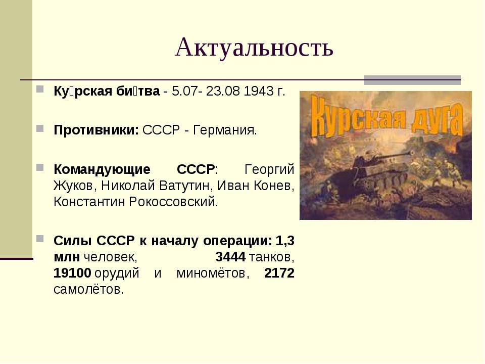 Актуальность Ку́рская би́тва- 5.07- 23.08 1943г. Противники: СССР- Германи...