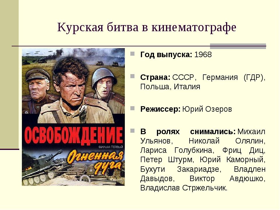 Курская битва в кинематографе Год выпуска:1968 Страна:СССР, Германия (ГДР),...