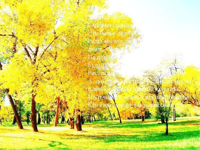 Голубое небо, яркие цветы, Золотая осень чудной красоты. Сколько солнца, све...