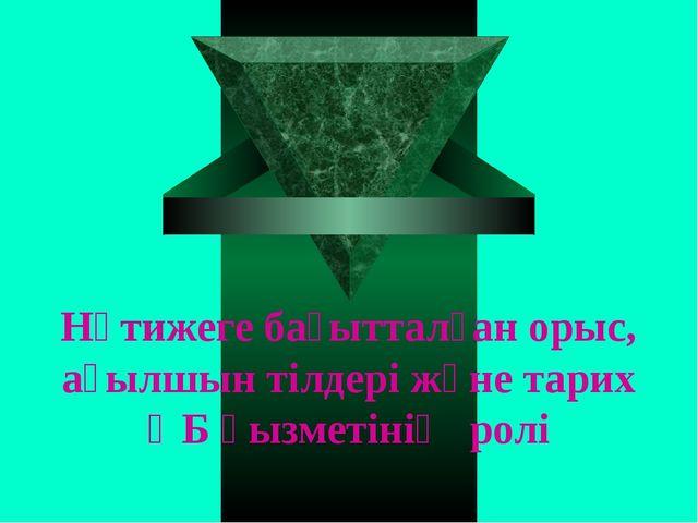 Нәтижеге бағытталған орыс, ағылшын тілдері және тарих ӘБ қызметінің ролі