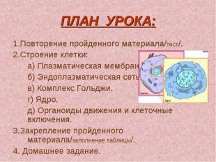 ПЛАН УРОКА: 1.Повторение пройденного материала/тест/. 2.Строение клетки: а)