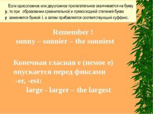 Remember ! sunny – sunnier – the sunniest Конечная гласная е (немое е) опуска