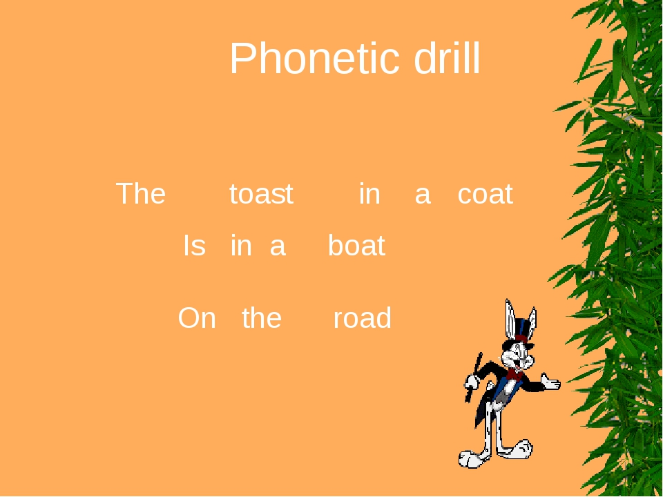 Phonetic drill The toast in a coat Is in a boat On the road