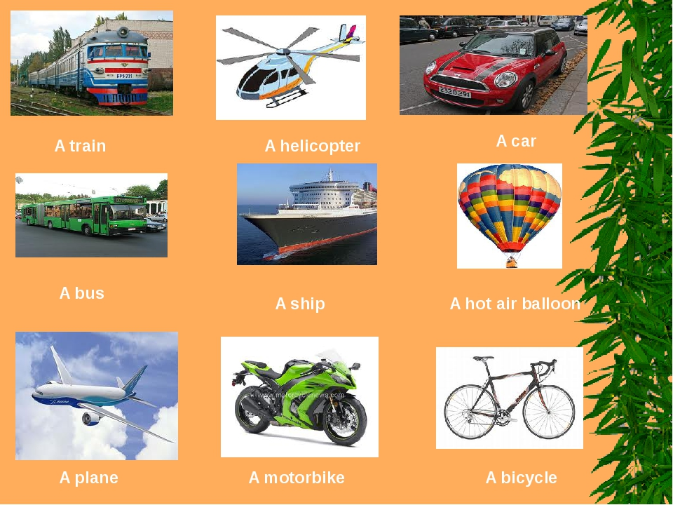 A train A helicopter A car A bus A ship A hot air balloon A plane A motorbike...