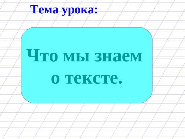 Тема урока: Что мы знаем о тексте.