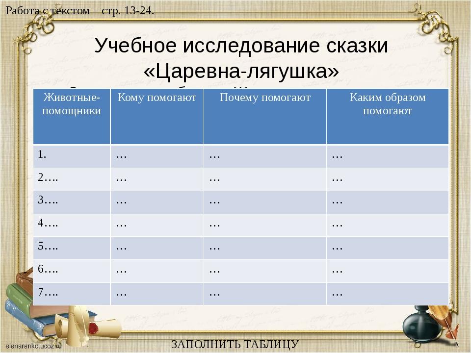 Учебное исследование сказки «Царевна-лягушка» Заполнить таблицу «Животные-пом...