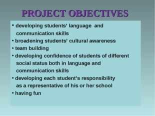 PROJECT OBJECTIVES developing students' language and communication skills bro