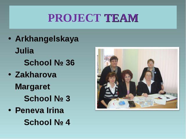PROJECT TEAM Arkhangelskaya Julia School № 36 Zakharova Margaret School № 3 P...