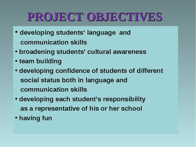 PROJECT OBJECTIVES developing students' language and communication skills bro...