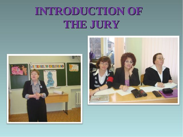 INTRODUCTION OF THE JURY