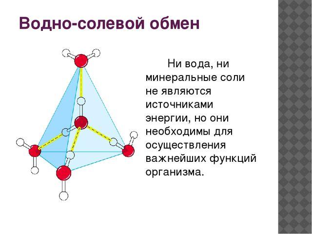 Водно-солевой обмен Ни вода, ни минеральные соли не являются источниками энер...