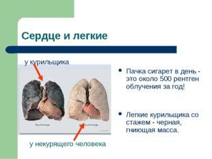 Сердце и легкие Пачка сигарет в день - это около 500 рентген облучения за год
