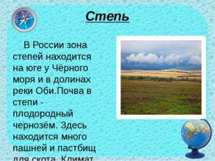 Степь В России зона степей находится на юге у Чёрного моря и в долинах реки О