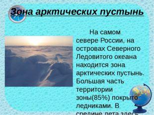 Зона арктических пустынь На самом севере России, на островах Северного Ледови