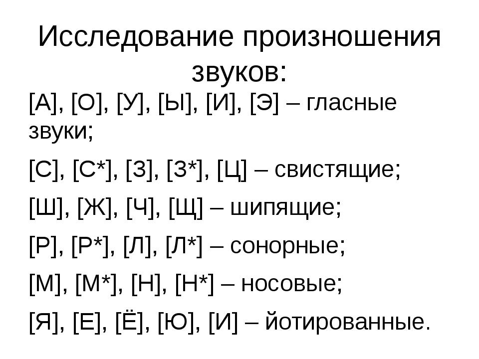 Исследование произношения звуков: [А], [О], [У], [Ы], [И], [Э] – гласные звук...