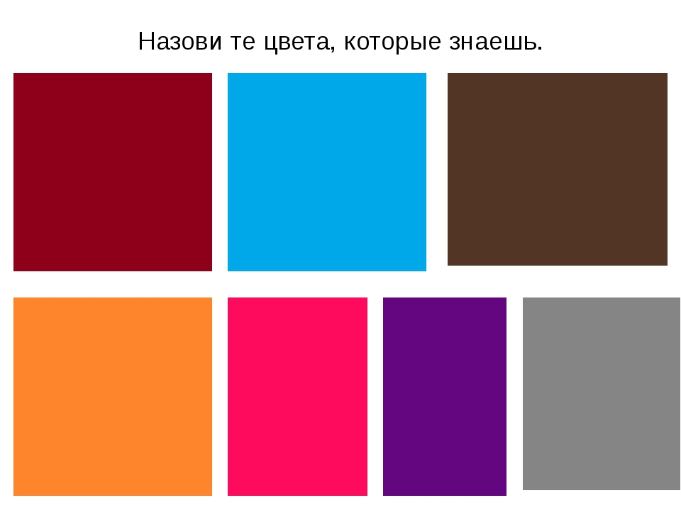 Назови те цвета, которые знаешь.