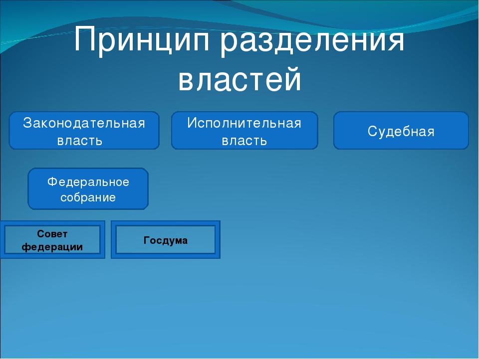Принцип разделения властей Законодательная власть Исполнительная власть Судеб...