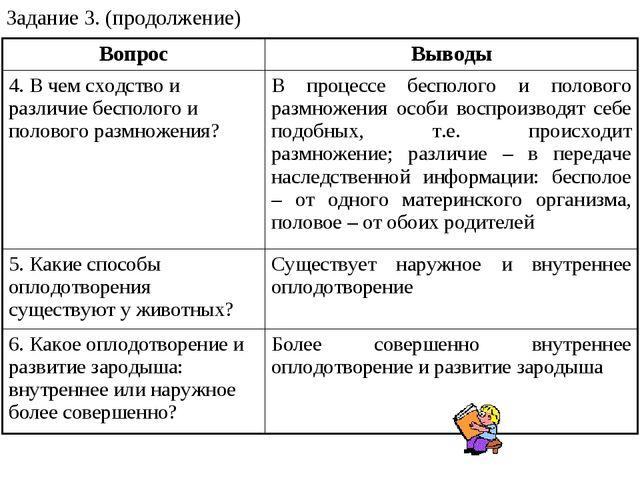 Задание 3. (продолжение) ВопросВыводы 4. В чем сходство и различие бесполого...