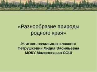 «Разнообразие природы родного края» Учитель начальных классов: Петрушкевич Ли