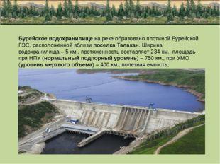 Бурейское водохранилище на реке образовано плотиной Бурейской ГЭС, расположен