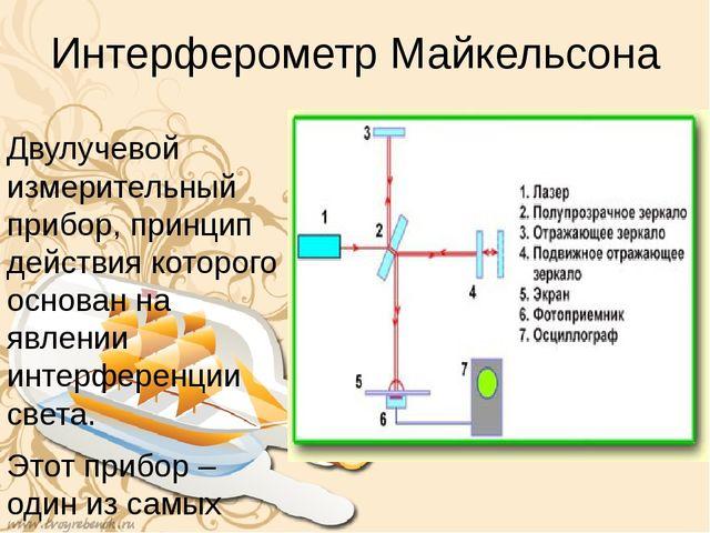 Интерферометр Майкельсона Двулучевой измерительный прибор, принцип действия к...