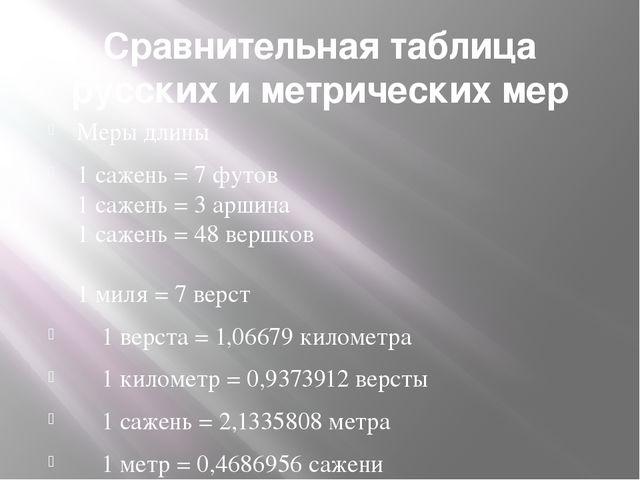 Сравнительная таблица русских и метрических мер Меры длины 1 сажень = 7 футов...