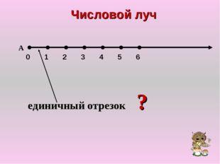 Числовой луч 0 1 2 3 4 5 6 А единичный отрезок ?