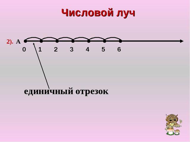 Числовой луч 0 1 2 3 4 5 6 2). А единичный отрезок