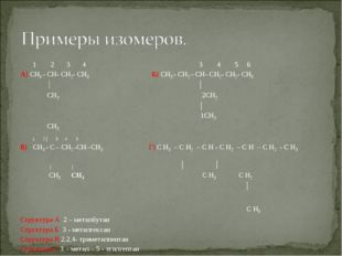1 2 3 4 3 4 5 6 А) CH3 - CH- CH2- CH3 Б) CH3 - CH2 – CH- CH2- CH2- CH3 │ │ C