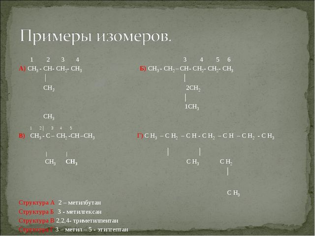 1 2 3 4 3 4 5 6 А) CH3 - CH- CH2- CH3 Б) CH3 - CH2 – CH- CH2- CH2- CH3 │ │ C...
