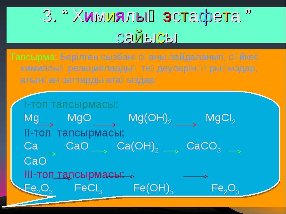 """3. """" Химиялық эстафета """" сайысы Тапсырма: Берілген сызбанұсқаны пайдаланып, с..."""