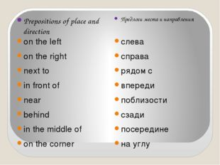 Prepositions of place and direction Предлоги места и направления on the left