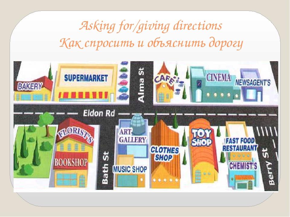 Asking for/giving directions Как спросить и объяснить дорогу