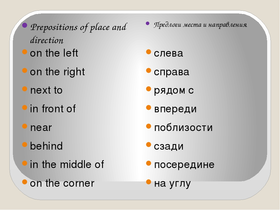 Prepositions of place and direction Предлоги места и направления on the left...
