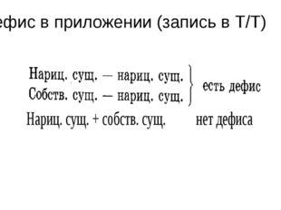 Дефис в приложении (запись в Т/Т)