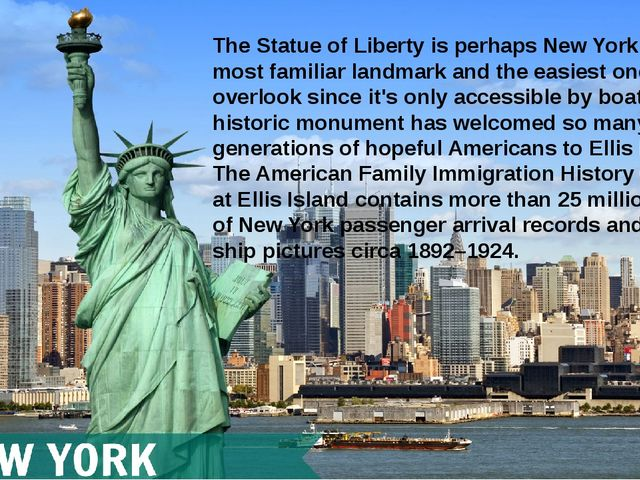The Statue of Liberty is perhaps New York City's most familiar landmark and t...