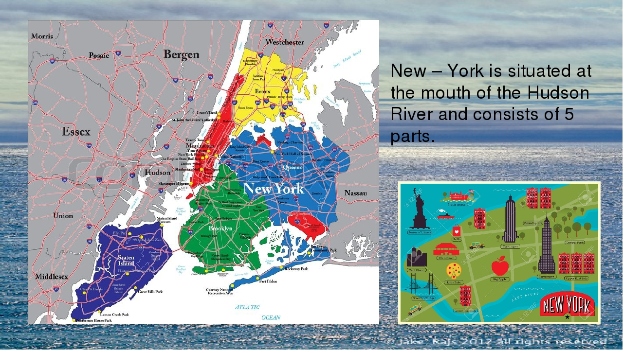 New – York is situated at the mouth of the Hudson River and consists of 5 par...