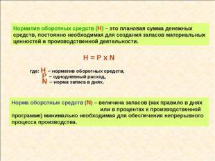Норма оборотных средств (N) – величина запасов (как правило в днях или в проц