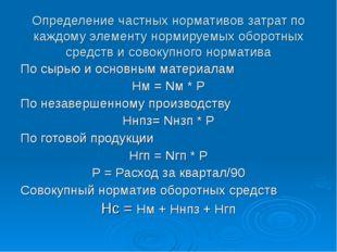 Определение частных нормативов затрат по каждому элементу нормируемых оборотн