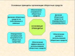 Основные принципы организации оборотных средств ОСНОВНЫЕ ПРИНЦИПЫ Деление обо