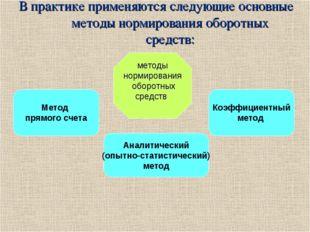 В практике применяются следующие основные методы нормирования оборотных средс