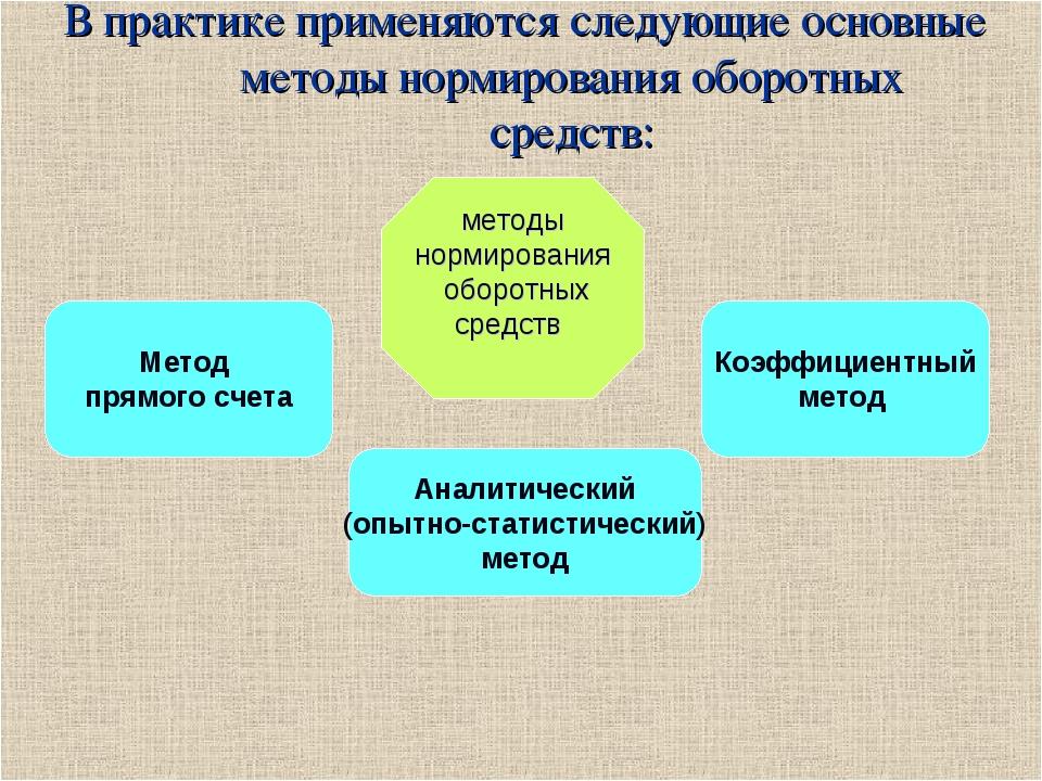 В практике применяются следующие основные методы нормирования оборотных средс...