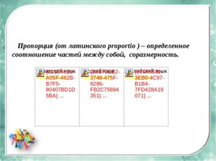 Пропорция (от латинского proportio ) – определенное соотношение частей между