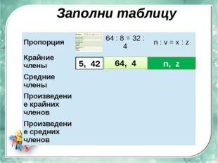 Заполни таблицу 5, 42 64, 4 n, z Пропорция 64:8=32:4 n:v=x:z Крайние члены