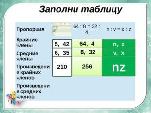 Заполни таблицу 5, 42 6, 35 210 64, 4 8, 32 256 n, z v, x nz Пропорция 64:8=3