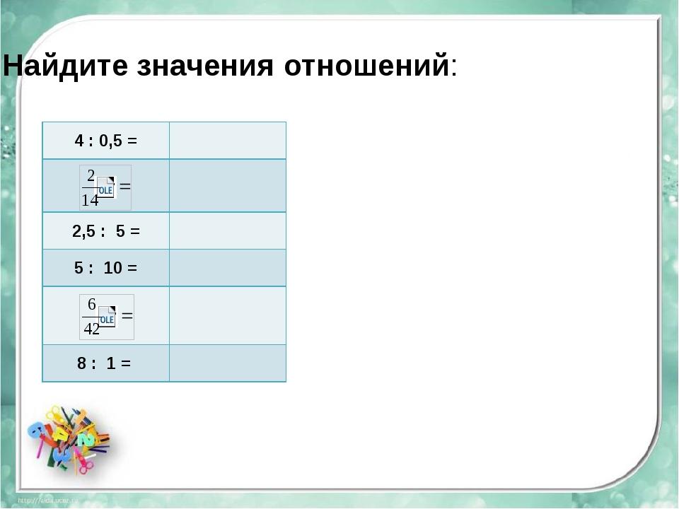Найдите значения отношений: 4 :0,5 = 2,5 : 5 = 5 : 10 = 8 :1 =