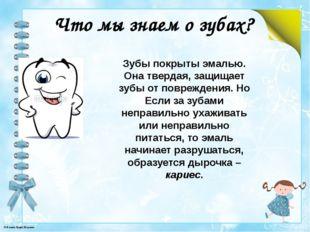 Что мы знаем о зубах? Зубы покрыты эмалью. Она твердая, защищает зубы от повр