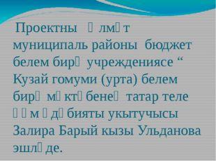 """Проектны Әлмәт муниципаль районы бюджет белем бирү учреждениясе """" Кузай гому"""