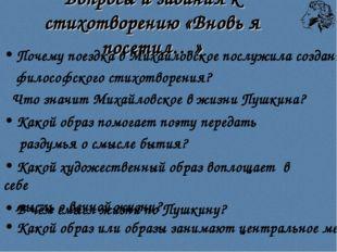 Вопросы и задания к стихотворению «Вновь я посетил…» Почему поездка в Михайло